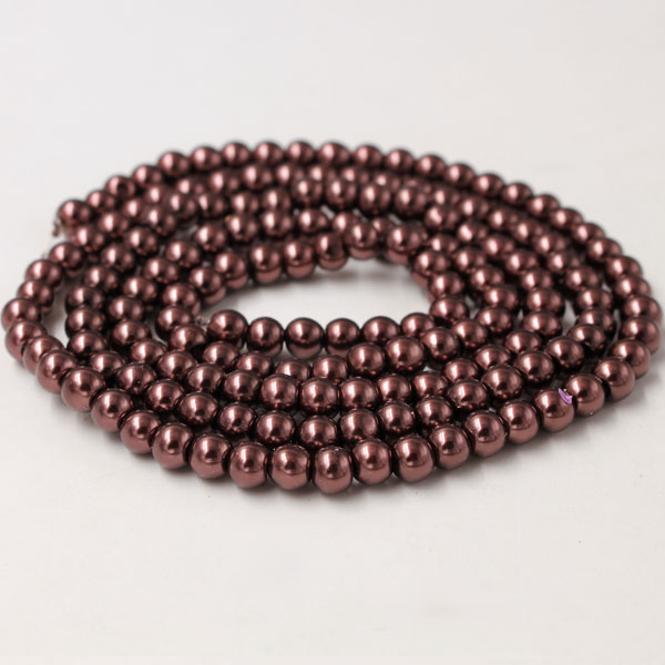 Glass Pearl Beads, Round, coffee, different size for choice, Hole:Approx 1mm, Length:Approx 32 Inch