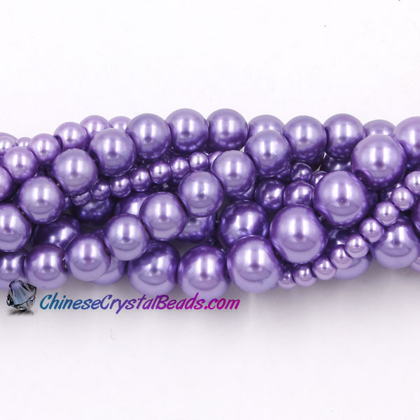 Glass Pearl Beads, Round, med Amethyst, different size for choice, Hole:Approx 1mm, Length:Approx 32 Inch