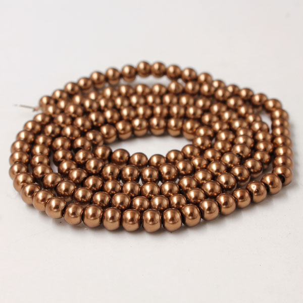 Glass Pearl Beads, Round, copper, different size for choice, Hole:Approx 1mm, Length:Approx 32 Inch