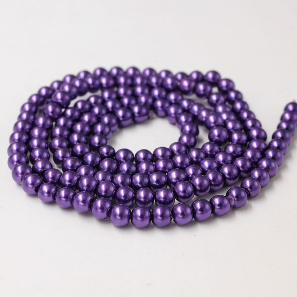 Glass Pearl Beads, Round, purple, different size for choice, Hole:Approx 1mm, Length:Approx 32 Inch
