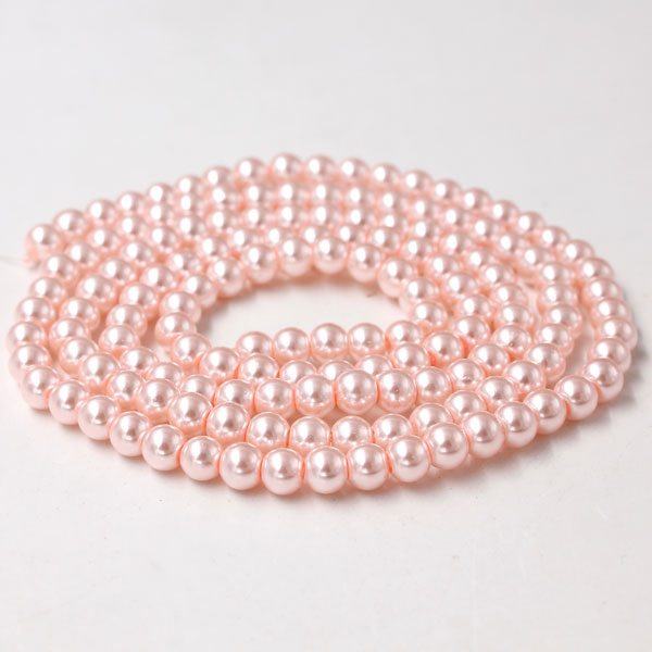 Glass Pearl Beads, Round, lt pink, different size for choice, Hole:Approx 1mm, Length:Approx 32 Inch