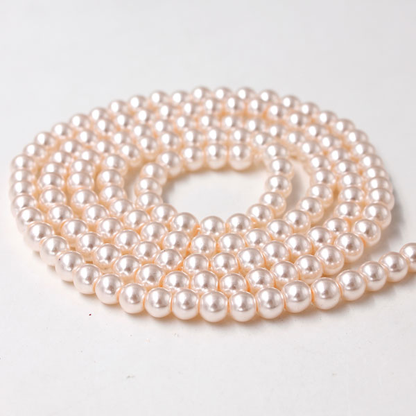 Glass Pearl Beads, Round, light peach, different size for choice, Hole:Approx 1mm, Length:Approx 32 Inch