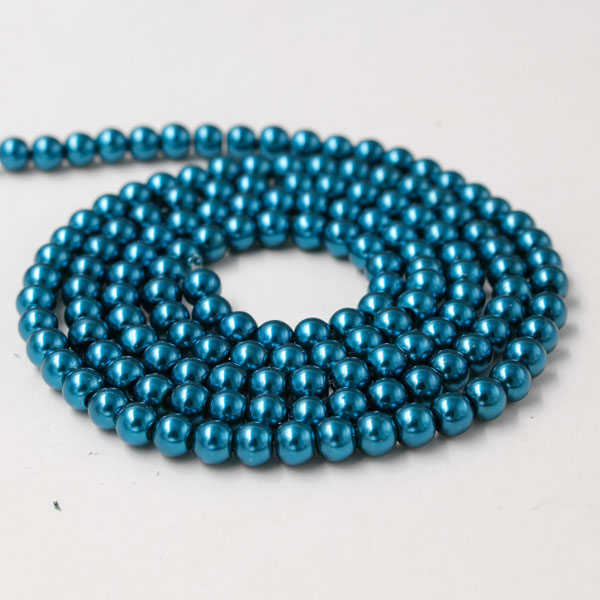 Glass Pearl Beads, Round, blue, different size for choice, Hole:Approx 1mm, Length:Approx 32 Inch
