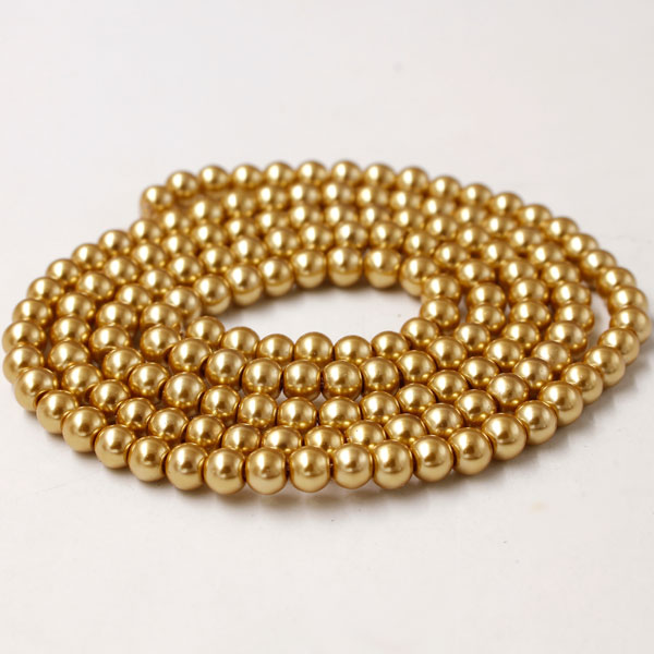 Glass Pearl Beads, Round, gold, different size for choice, Hole:Approx 1mm, Length:Approx 32 Inch