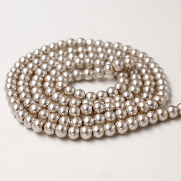 Glass Pearl Beads, Round, Wheat, different size for choice, Hole:Approx 1mm, Length:Approx 32 Inch
