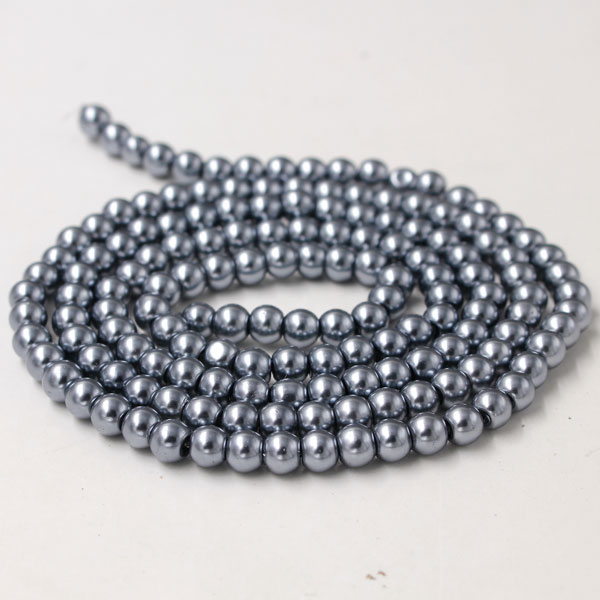 Glass Pearl Beads, Round, dark gray, different size for choice, Hole:Approx 1mm, Length:Approx 32 Inch