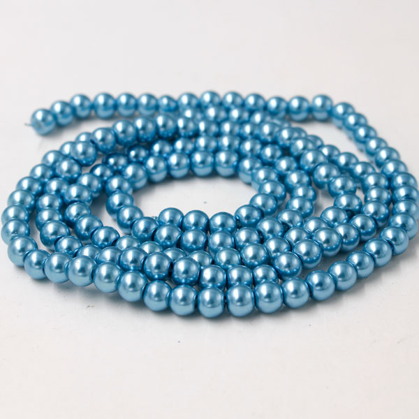 Glass Pearl Beads, Round, aqua, different size for choice, Hole:Approx 1mm, Length:Approx 32 Inch
