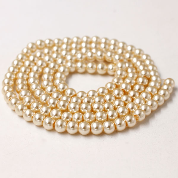 Glass Pearl Beads, Round, Peach Yellow, different size for choice, Hole:Approx 1mm, Length:Approx 32 Inch