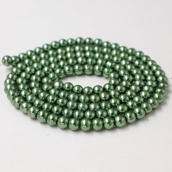 Glass Pearl Beads, Round, Fern Green, different size for choice, Hole:Approx 1mm, Length:Approx 32 Inch