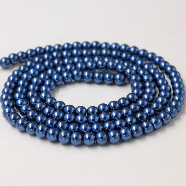 Glass Pearl Beads, Round, dark blue, different size for choice, Hole:Approx 1mm, Length:Approx 32 Inch