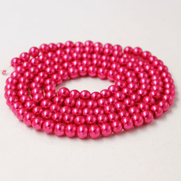 Glass Pearl Beads, Round, deep rose, different size for choice, Hole:Approx 1mm, Length:Approx 32 Inch