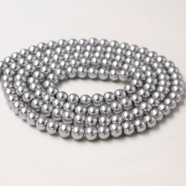 Glass Pearl Beads, Round, lt gray, different size for choice, Hole:Approx 1mm, Length:Approx 32 Inch