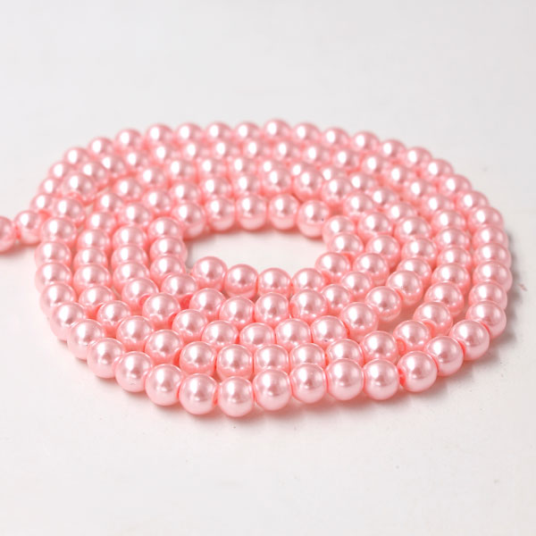 Glass Pearl Beads, Round, pink, different size for choice, Hole:Approx 1mm, Length:Approx 32 Inch