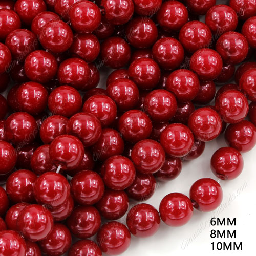 100Pcs ABS plastic Red Shell Bead mother Pearl Round, hole 1mm