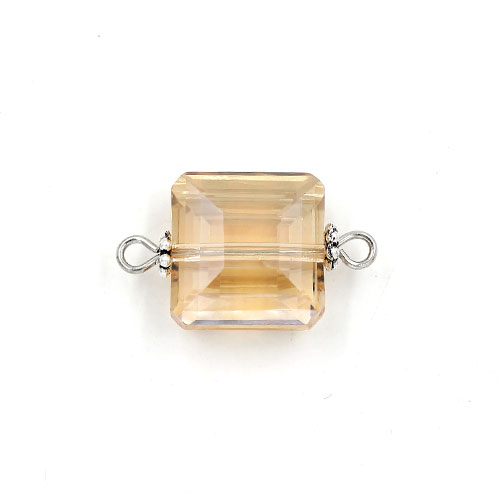 Square shape Faceted Crystal Pendants Necklace Connectors, 13x13mm, Golden Shadow, 1 pc