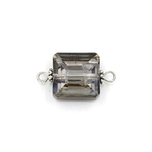 Square shape Faceted Crystal Pendants Necklace Connectors, 13x13mm, dark gray, 1 pc