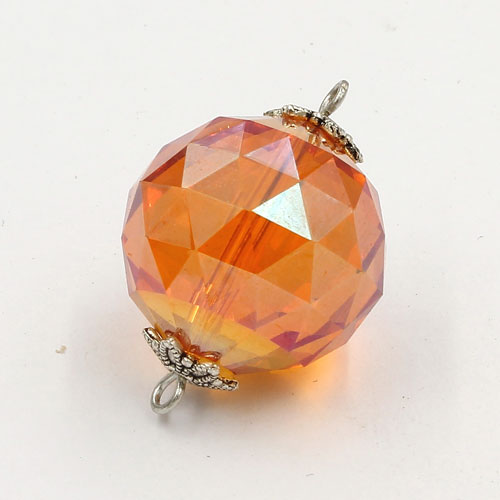 20mm big crystal ball pendant connector charms, orange light, 1 pc