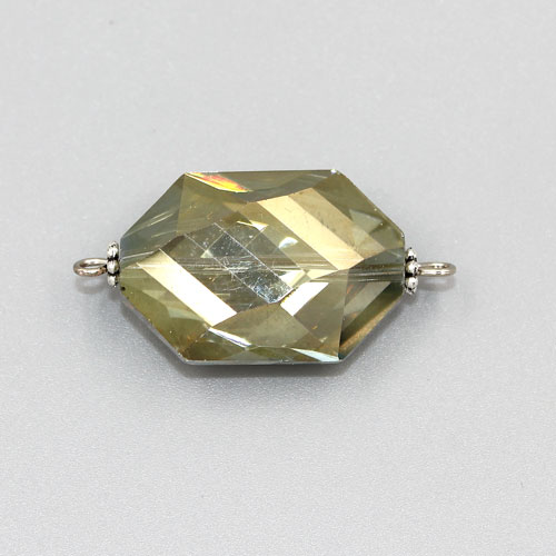 Graphic shape Faceted Crystal Pendants Necklace Connectors, 17x33mm,green and yellow light., 1 pc