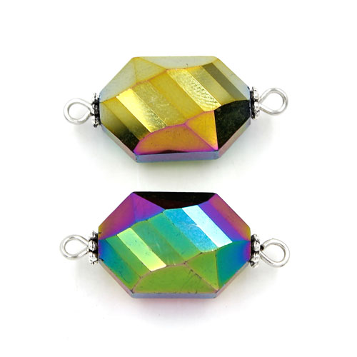 Graphic shape Faceted Crystal Pendants Necklace Connectors, 12x22mm, rainbow., 1 pc