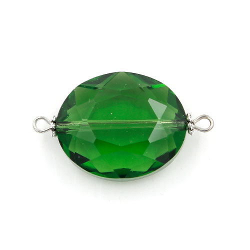 Oval shape Faceted Crystal Pendants Necklace Connectors, 20x33mm, green, 1 pc