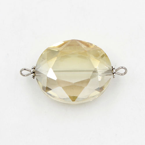 Oval shape Faceted Crystal Pendants Necklace Connectors, 20x33mm, lt yellow, 1 pc