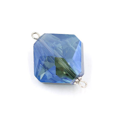 Square shape Faceted Crystal Pendants Necklace Connectors, 22x31mm,Magic Blue, 1 pc
