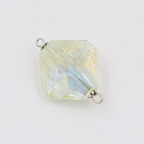 Square shape Faceted Crystal Pendants Necklace Connectors, 22x31mm,lt yellow light, 1 pc