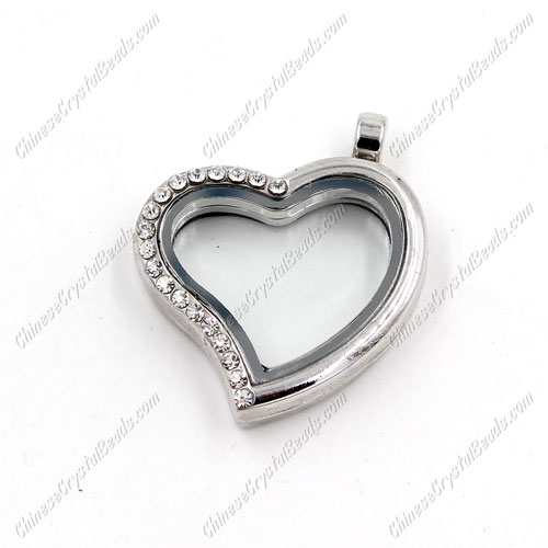 Heart Glass Floating Lockets Memory Locket, 25x28mm, silver plated, pave crystal Rhinestone, Magnetic clasp, 1 piece