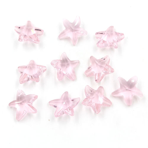 10Pcs 14mm Crystal beads Faceted starfish Pendant, pink, hole: 1mm