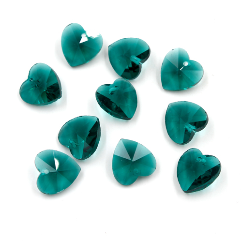 10Pcs 14mm crystal heart pendant, hole 1.5mm, emerald