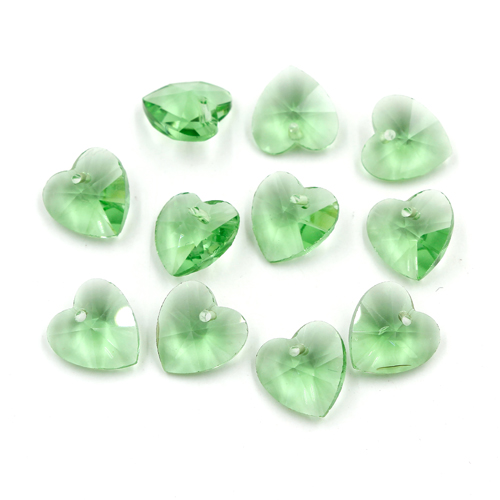 10Pcs 14mm crystal heart pendant, hole 1.5mm, green