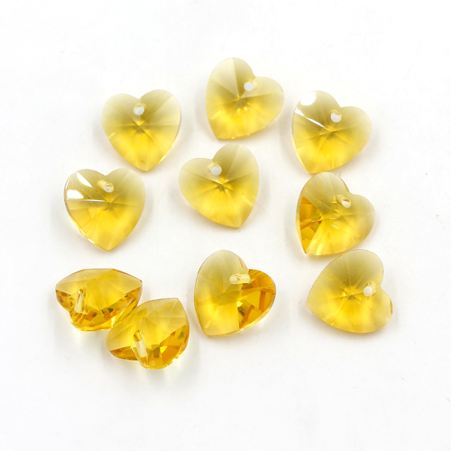 10Pcs 14mm crystal heart pendant, hole 1.5mm, sun