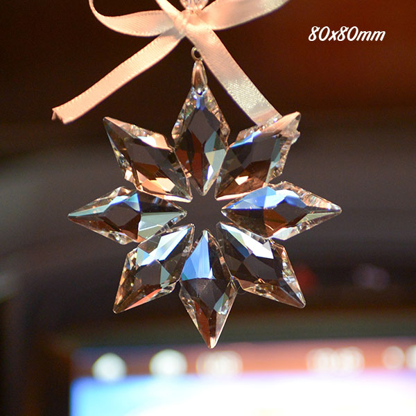 Big snowflake crystal pendant, clear, 80x80mm, 1 piece
