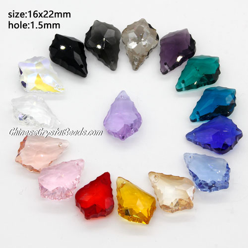 16 color Chinese Crystal 6090 Baroque Pendants, 15x22mm, mix, 16pcs