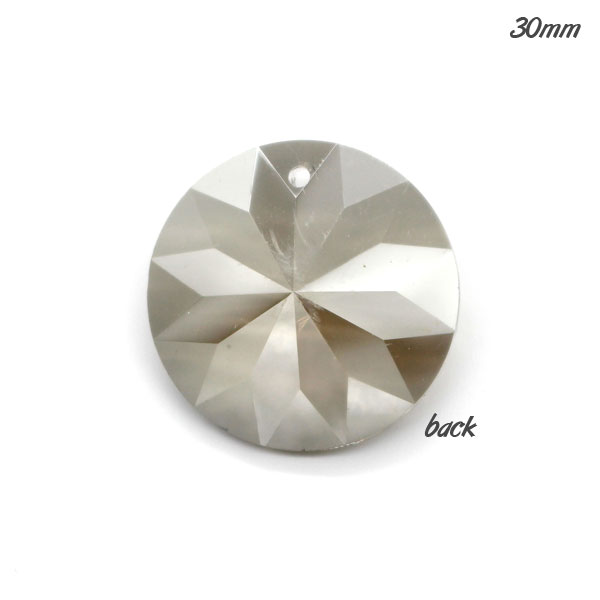 30mm Crystal round coin pendant, silver shade, hole: 1.5mm