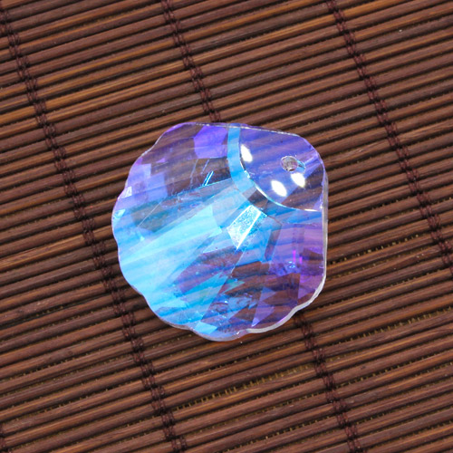 Crystal faceted shell pendant, AAA Clear AB, hole 1.5mm, 1 piece