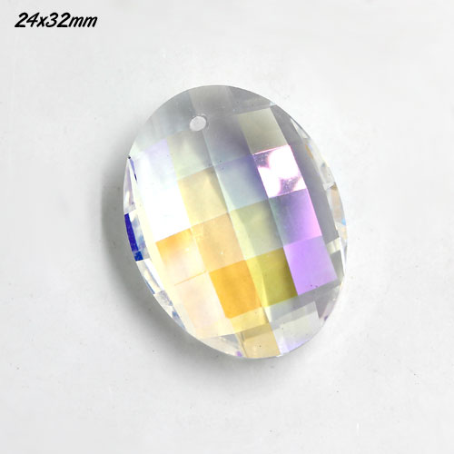 Chinese Oval Crystal faceted Pendant, 24x32mm, clear AB