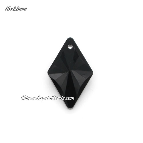 1Pc 15x23mm rhombus crystal pendant, black