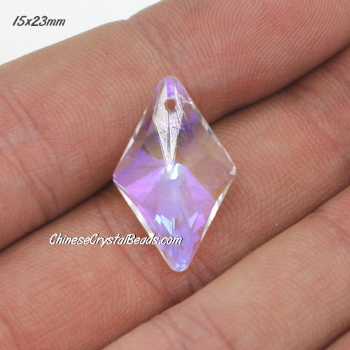 1Pc 15x23mm rhombus crystal pendant, clear AB