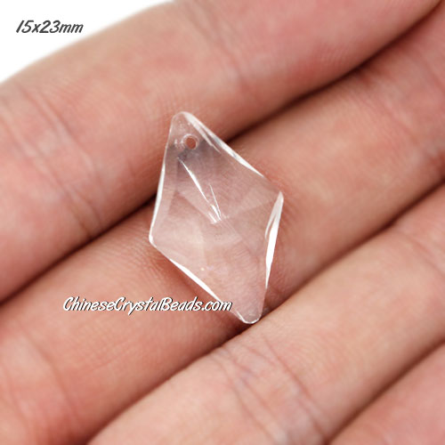 1Pc 15x23mm rhombus crystal pendant, clear