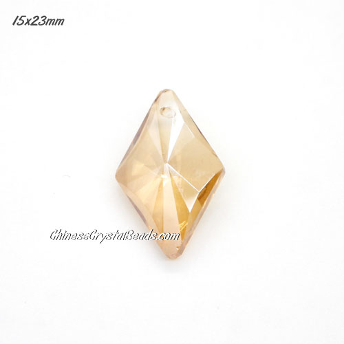 1Pc 15x23mm rhombus crystal pendant, golden shade