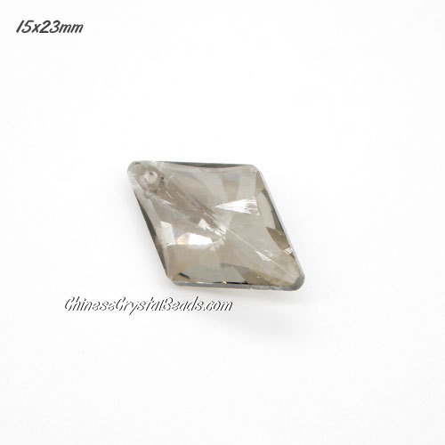 1Pc 15x23mm rhombus crystal pendant, silver shade