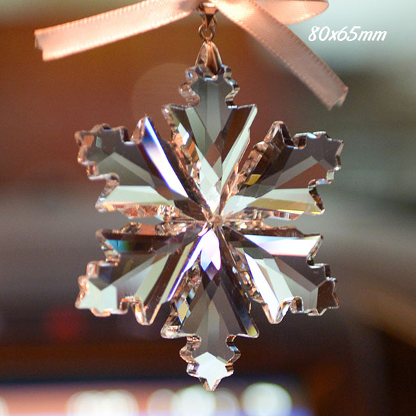 Big snowflake crystal pendant clear, 80x65mm, 1 piece