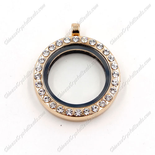Round Glass Floating Lockets Memory Locket, 30mm, rose gold plated, pave crystal Rhinestone, Magnetic clasp, 1 piece