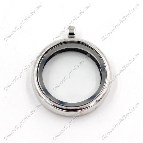 Glass Floating Lockets Memory Locket, 30mm, silver plated, Magnetic clasp, 1 piece