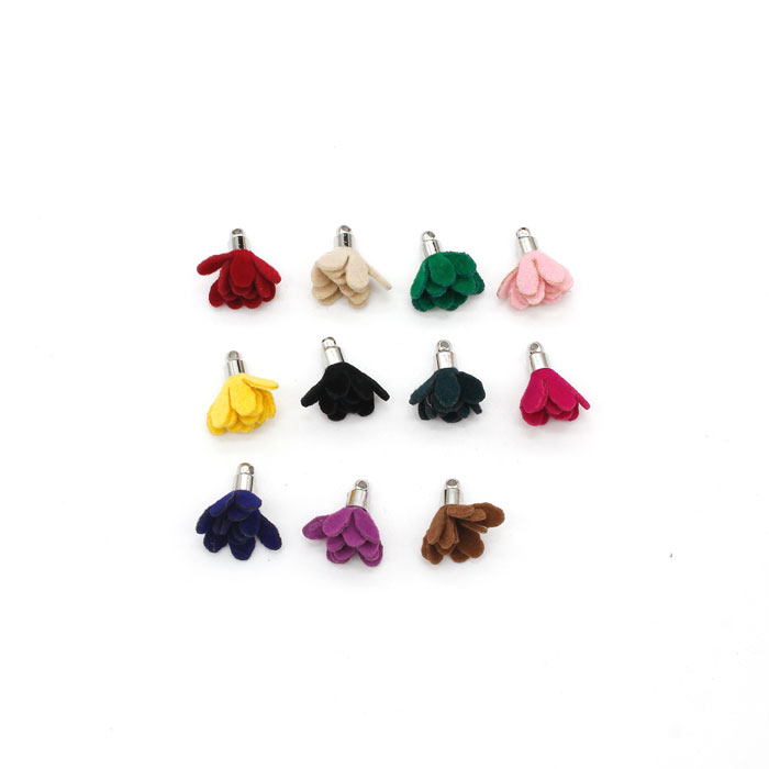 20Pcs 18mm Suede mini flower Tassels, mixed color