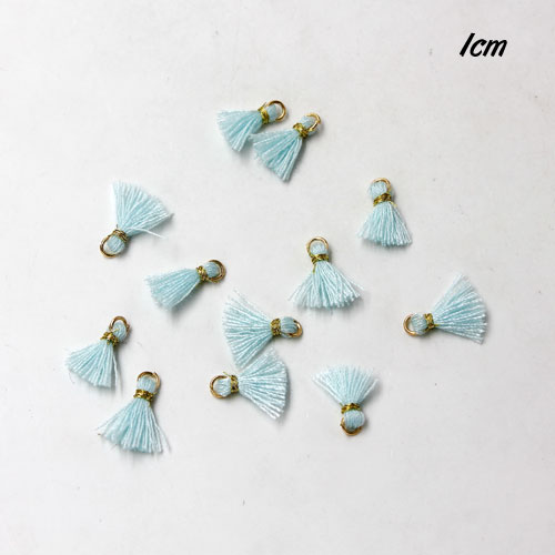 100 pcs of Mini Tassels, Handmade Silky Tassels, 10mm, light aqua