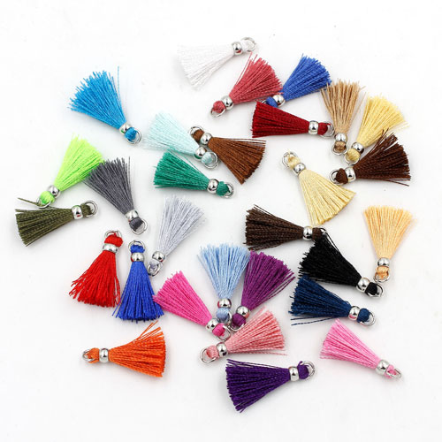 10 pcs 20mm mini tassels, Luxe Silk Tassels with 4mm copper beads, 29 colors can be choose