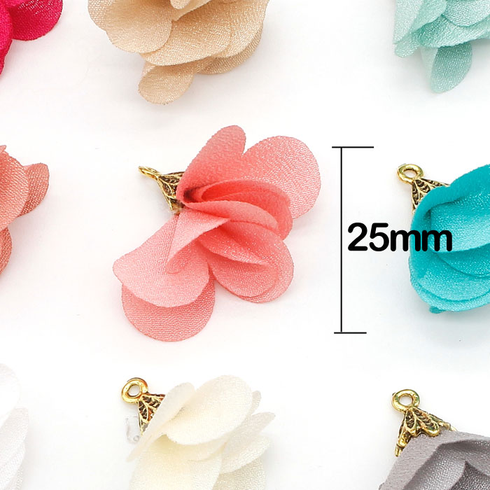 20Pcs 25mm flower Tassels #3, mixed color