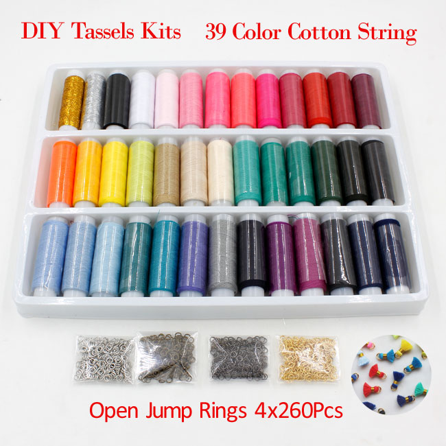 DIY tassels Kits, 39 color cotton and 1000pcs 4mm open jump ring